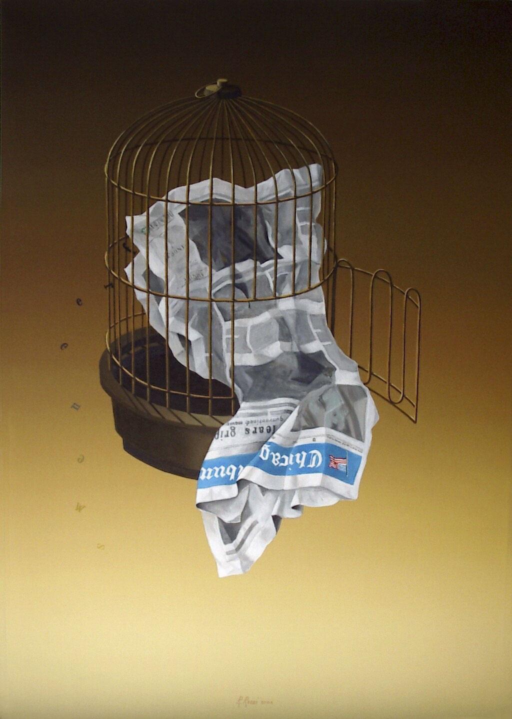 2004 roberta rossi – Free news – olio su tela – 100 x 70