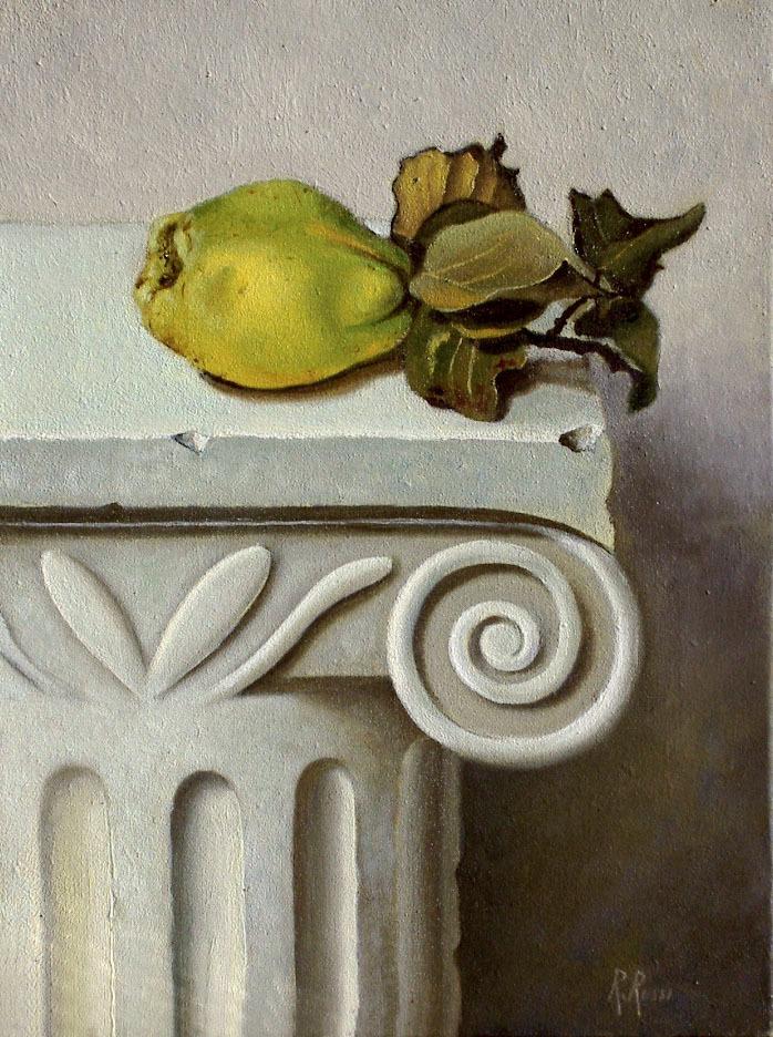 2004 roberta rossi – Mela Cotogna su capitello – olio su tela – 24 x 18