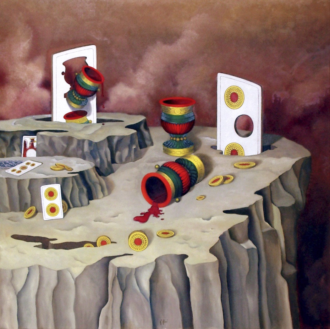 2004 roberta rossi – Metamorfosi del gioco – olio su tela – 90 x 90