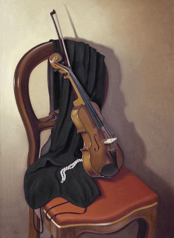 2004 roberta rossi - Prima del concerto - olio su tela - 100 x 70