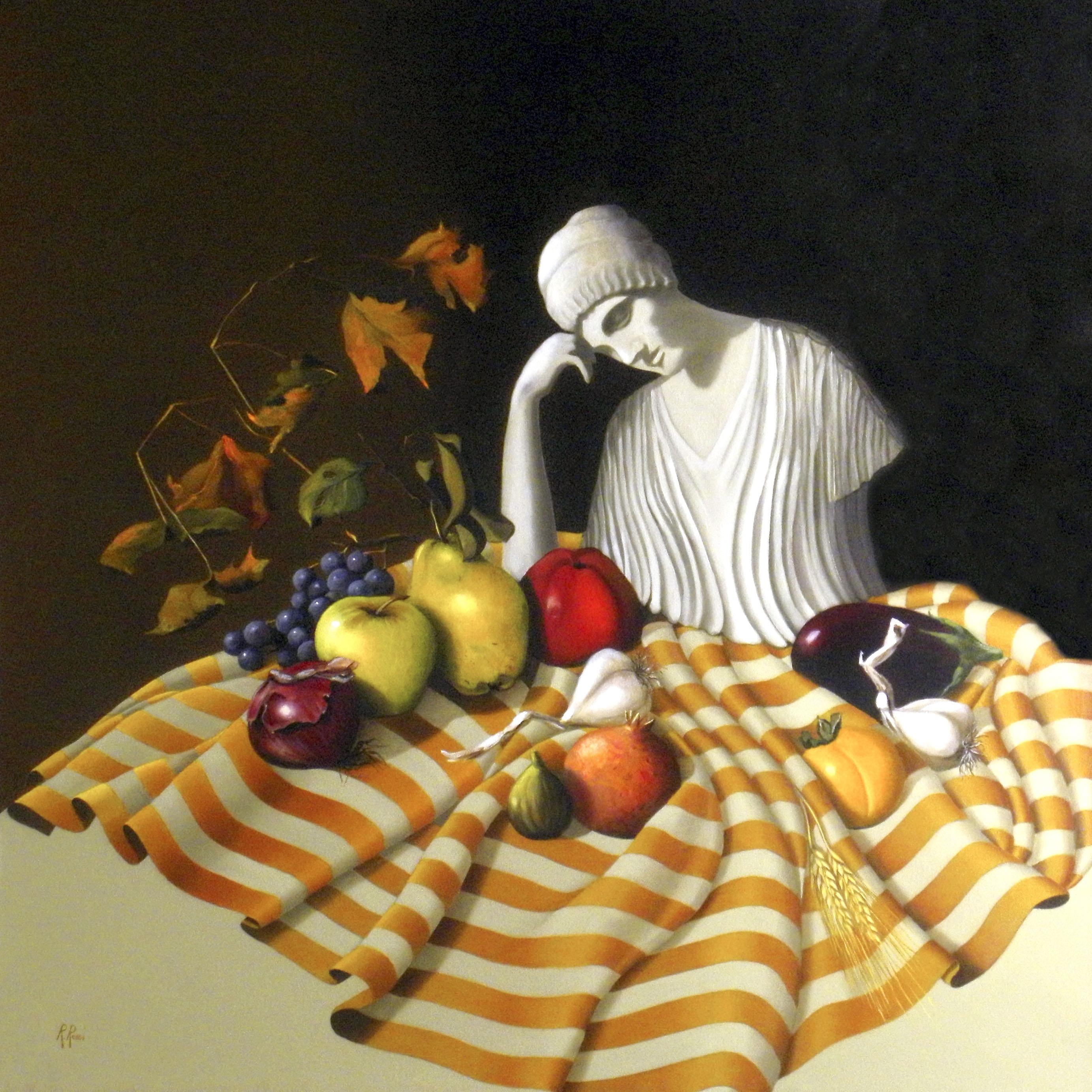 2005 roberta rossi - Demetra e i frutti della terra - olio su tela - 70 x 70