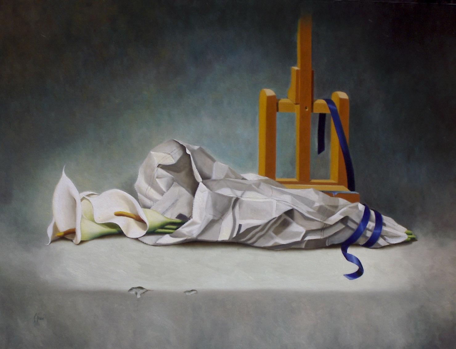 2005 roberta rossi – Il nastro blu – olio su tela – 60 x 80