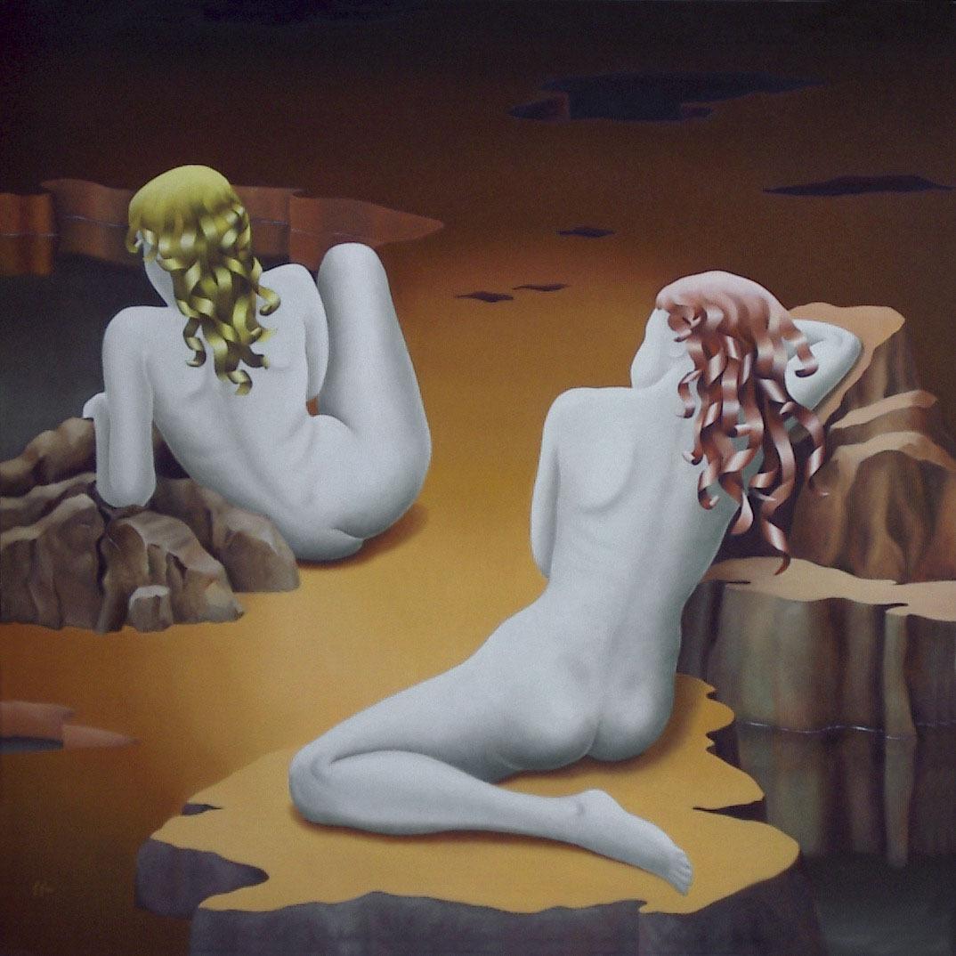 2005 roberta rossi - Il riposo degli angeli - olio su tela - 90 x 90
