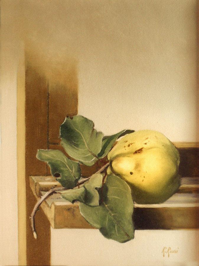 2005 roberta rossi - Mela cotogna su cavalletto - olio su tela - 24 x 18