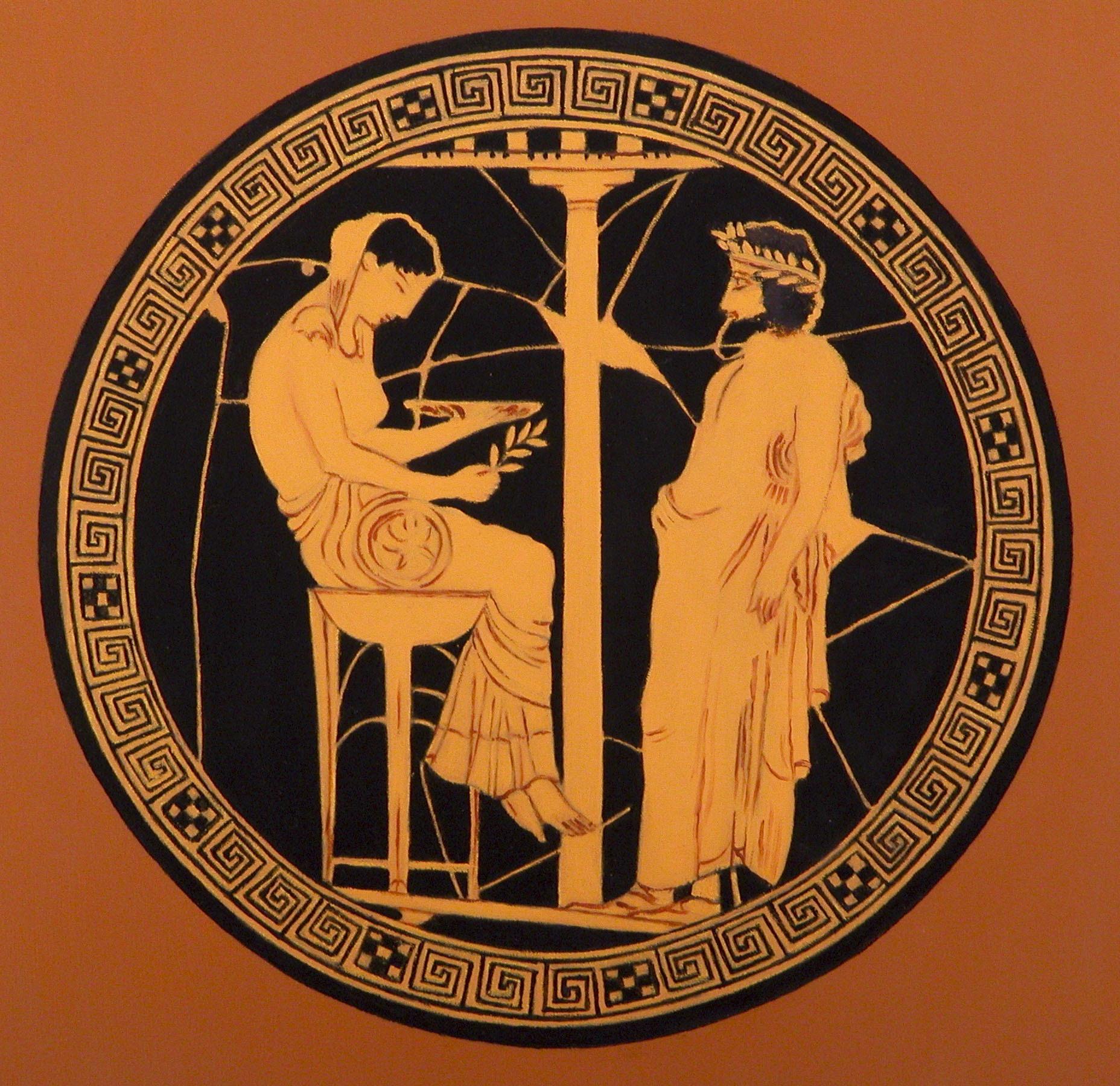 2007 roberta rossi - Egeo consulta l'oracolo di Temi a Delfi - olio su tavola - 25 x 25