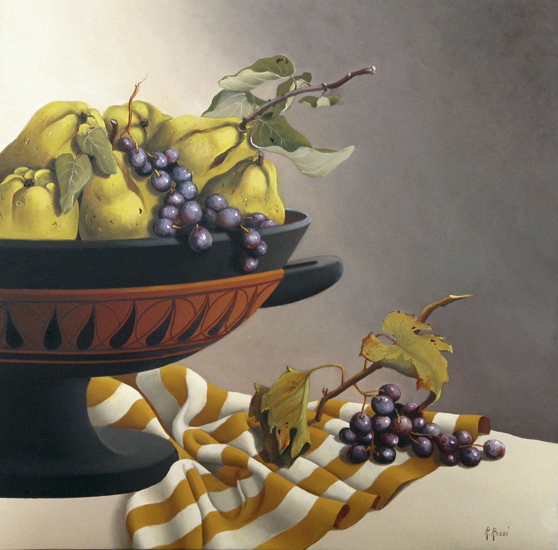 2008 roberta rossi - Composizione con Kylix - mele cotogne e uva - olio su tela - 40 x 40