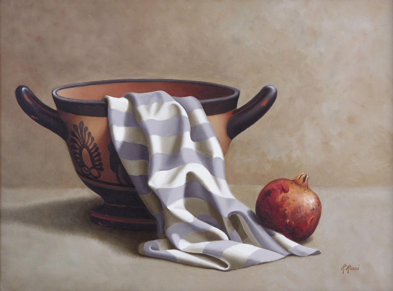 2008 roberta rossi – Composizione con skyphos e melograno – olio su tela – 30 x 40