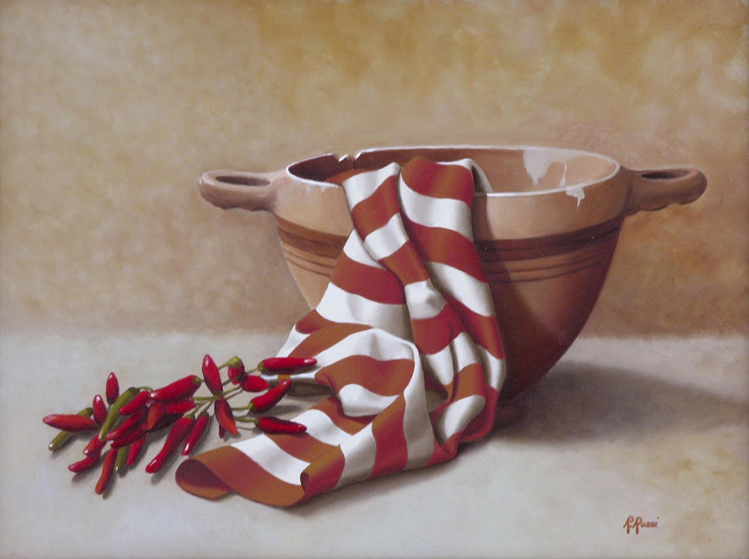 2008 roberta rossi – Composizione con skyphos e peperoncini – olio su tela – 30 x 40