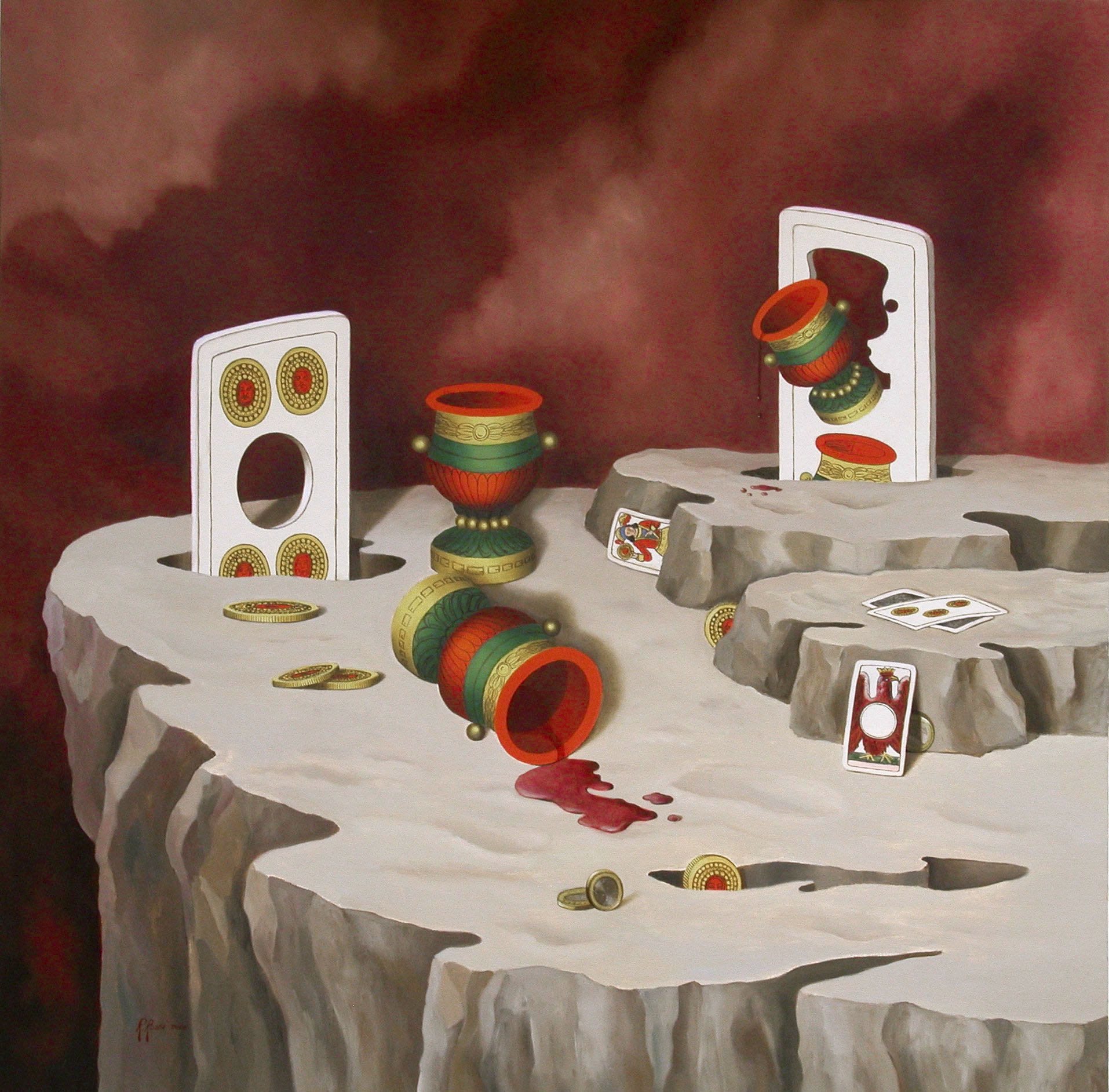 2008 roberta rossi - Gioco in metamorfosi - olio su tela - 70x70