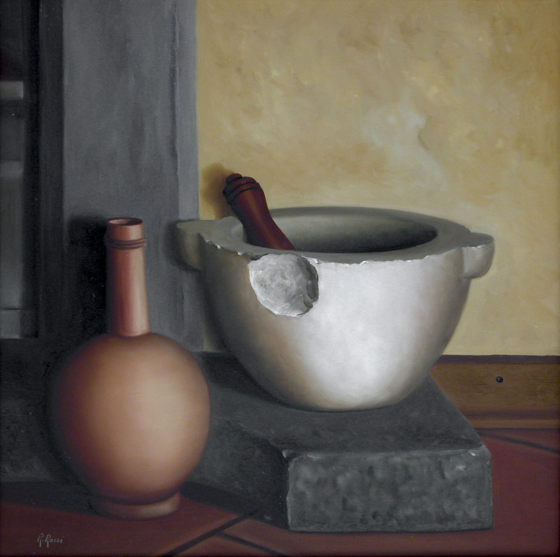 2008 roberta rossi - Vaso e mortaio - olio su tela - 40 x 40
