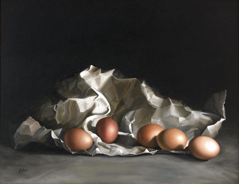 2009 roberta rossi - Composizione con uova - olio su tavola - 36 x 46