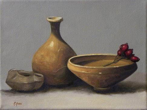 2009 roberta rossi - ceramiche etrusche - olio su tela - 18 x 24