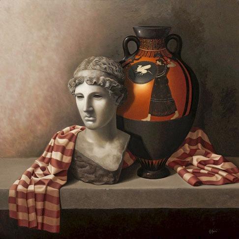 2009 roberta rossi - il pensiero di athena - olio su tela - 70 x 70