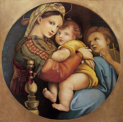 2009 roberta rossi - madonna della seggiola - olio su tavola - 25 x 25