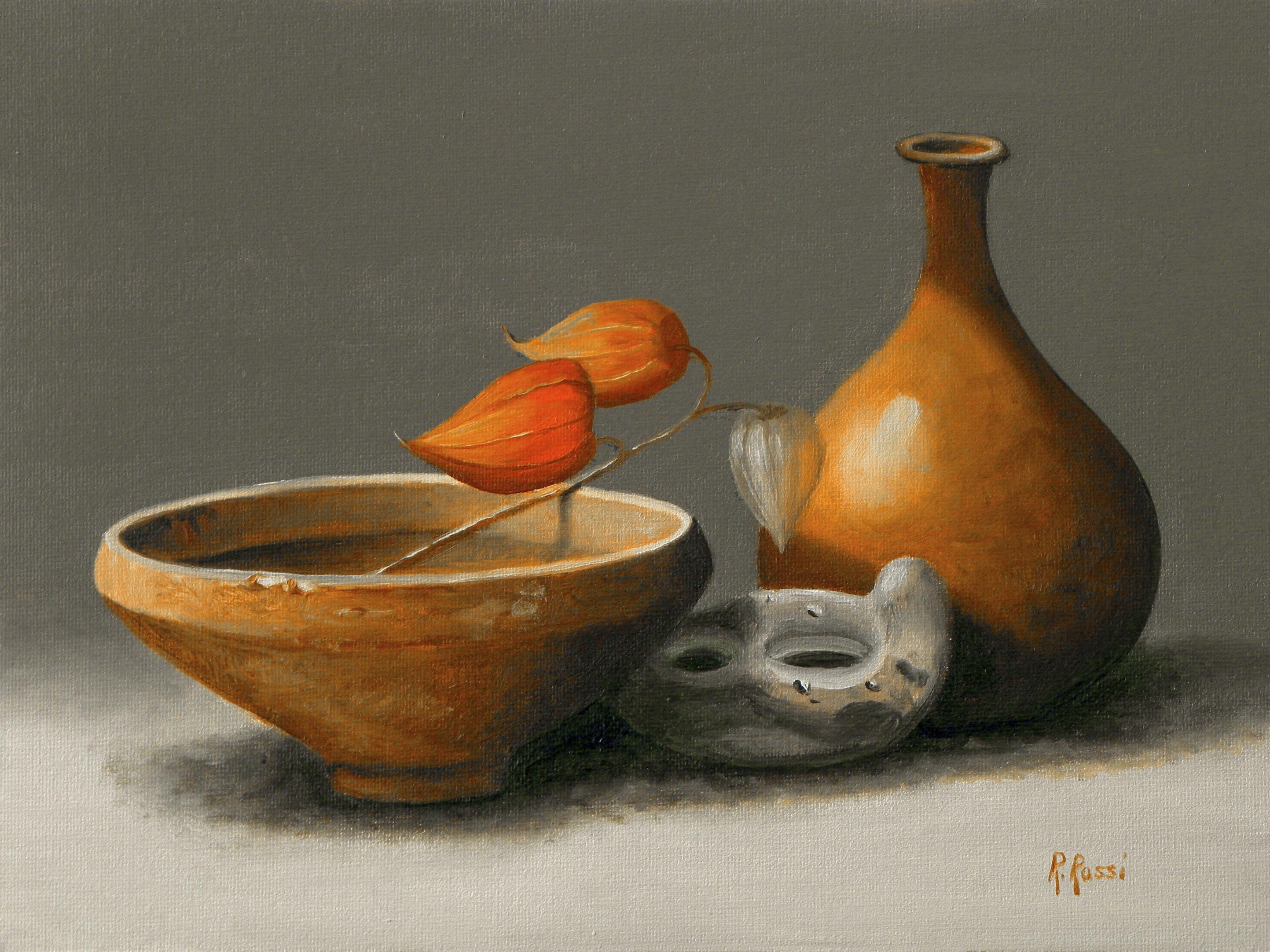 2010 roberta rossi – ceramiche etrusche con alchechengi – olio su tela – 18 x 24