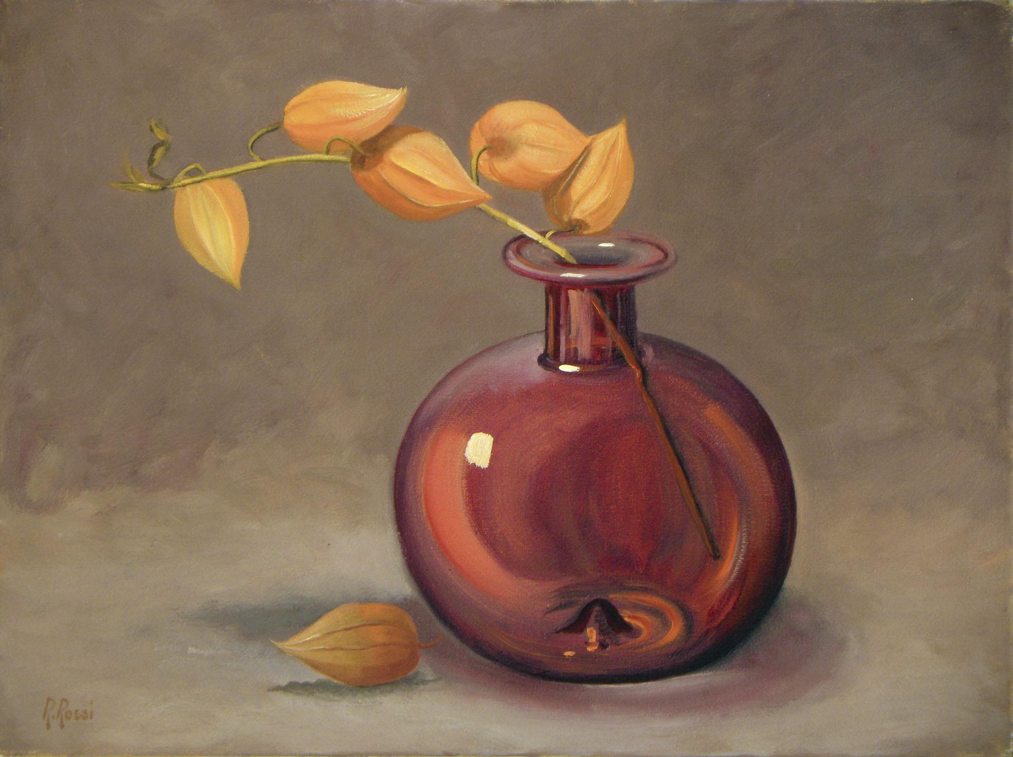 2010 roberta rossi - composizione con alchechengi - olio su tela - 18 x 24