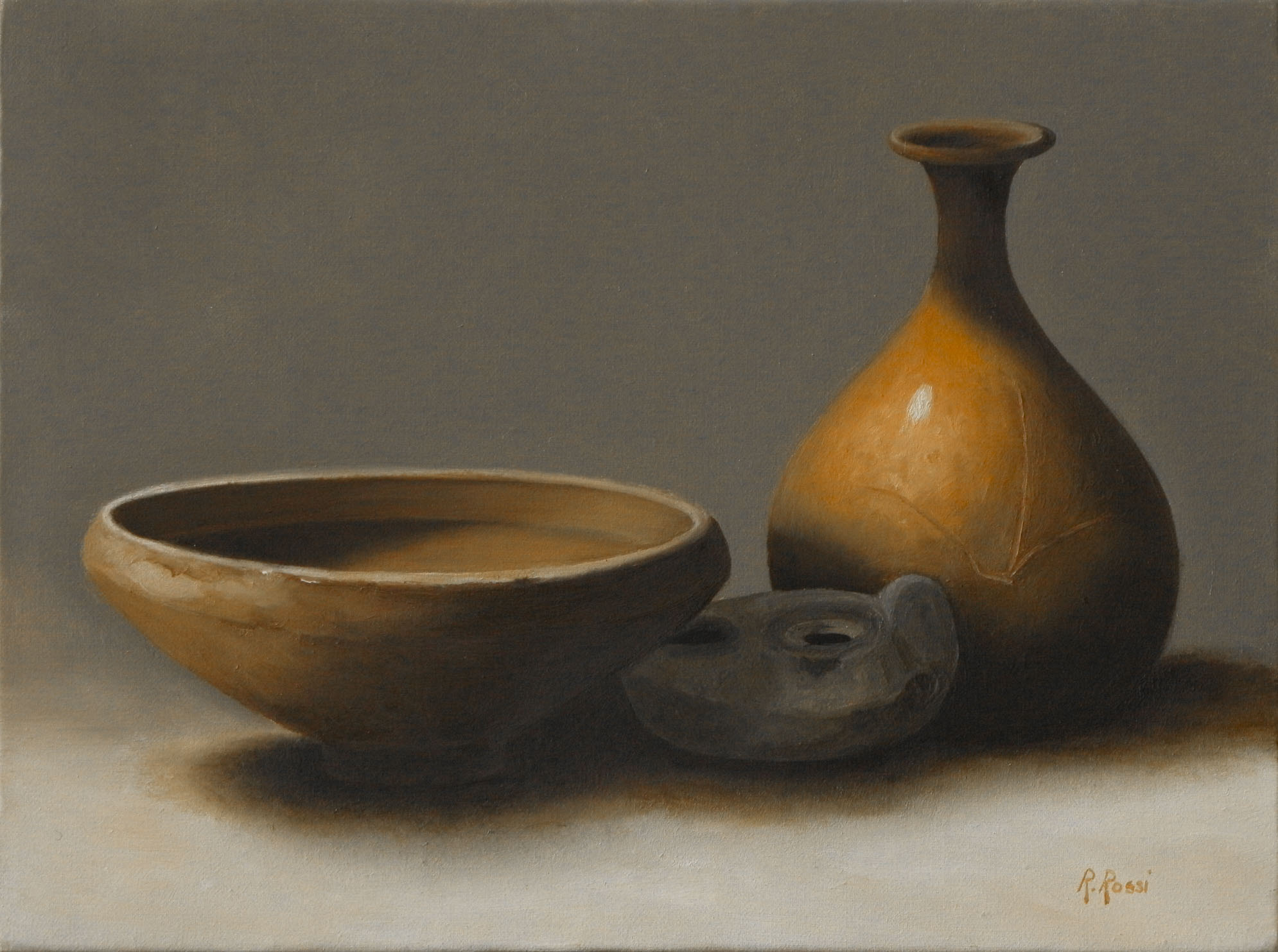 2010 roberta rossi - composizione con ceramiche etrusche - olio su tela - 18 x 24