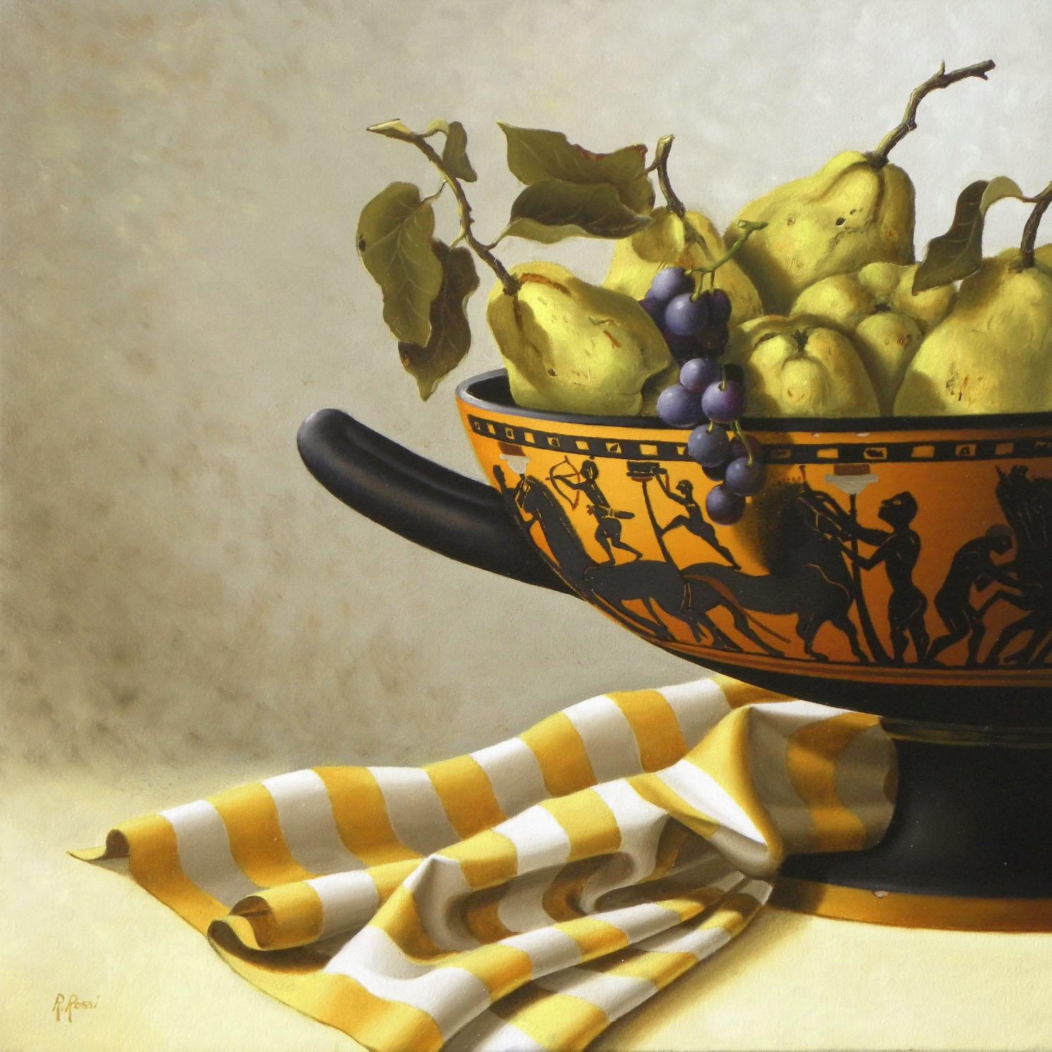 2010 roberta rossi - composizione con kylix e mele cotogne - olio su tela - 40 x 40