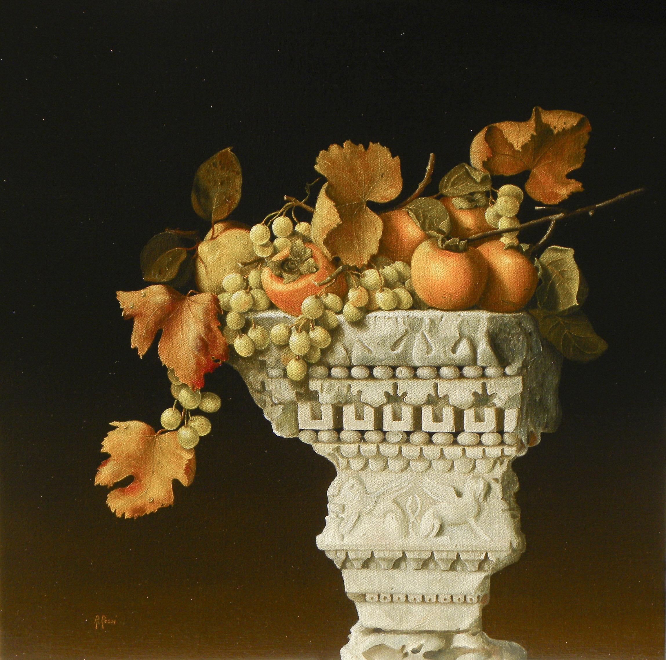 2010 roberta rossi - natura morta su capitello - olio su tela - 60 x 60