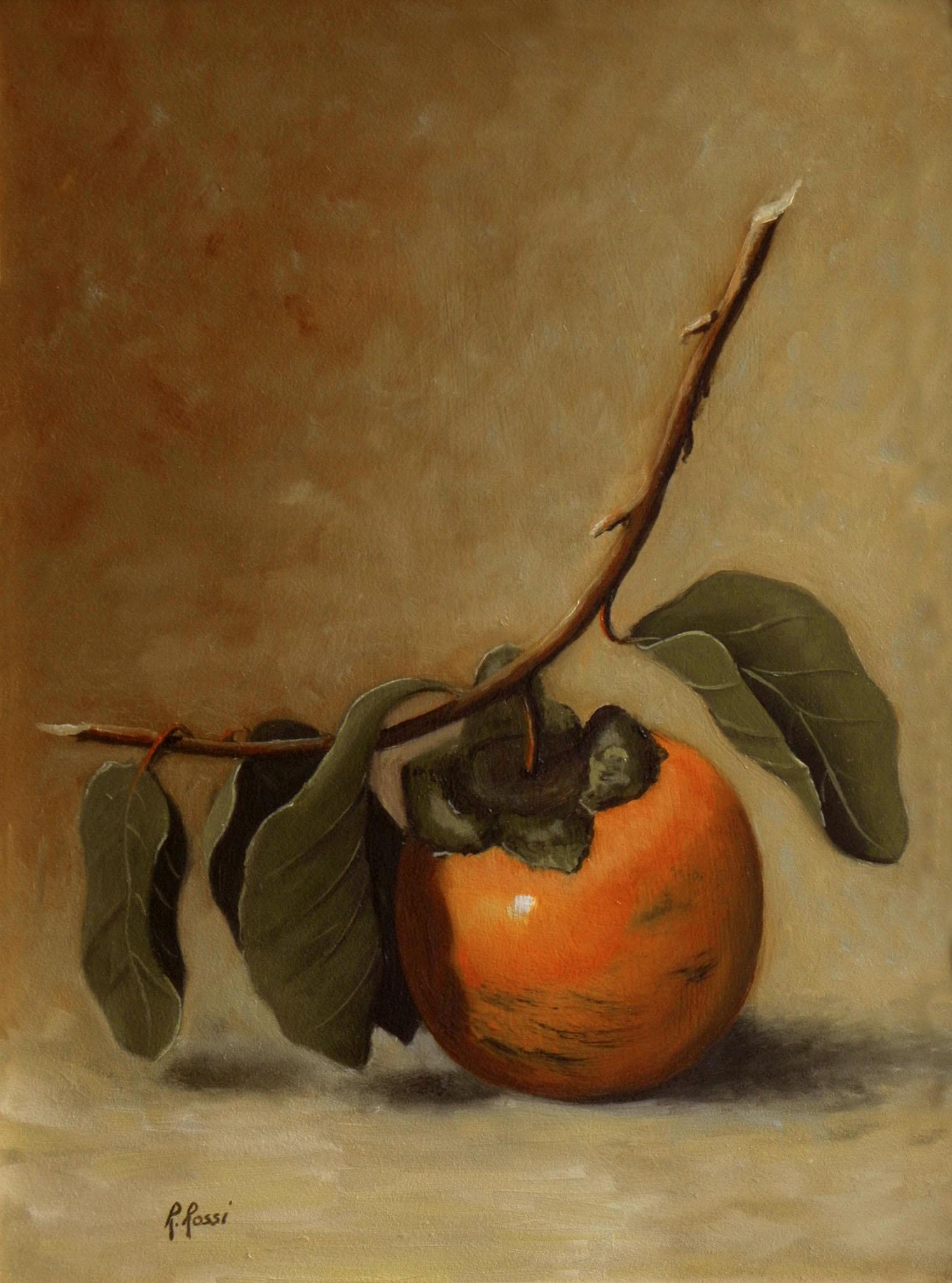 2011 roberta rossi - caco e foglie - olio su tela - 24 x 18