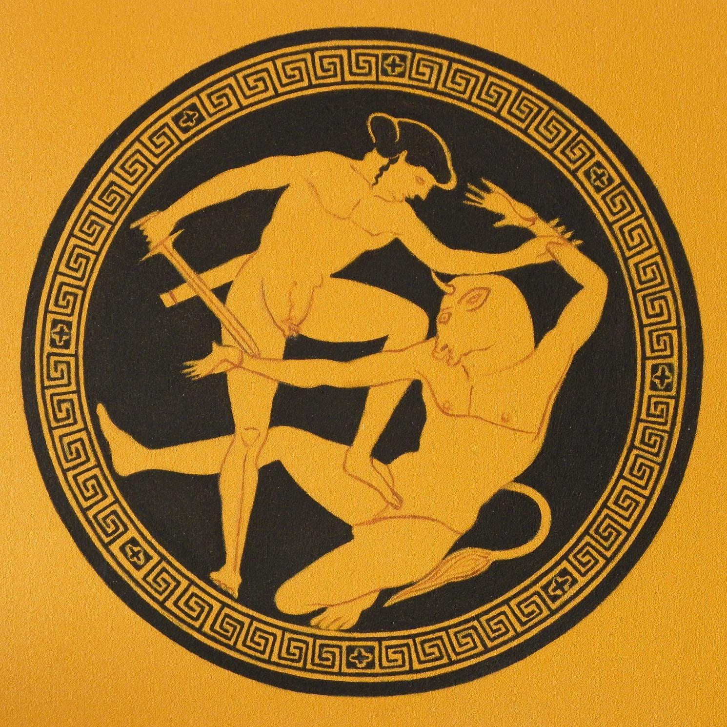 2011 roberta rossi - teseo lotta col minotauro - olio su tavola - 25 x 25