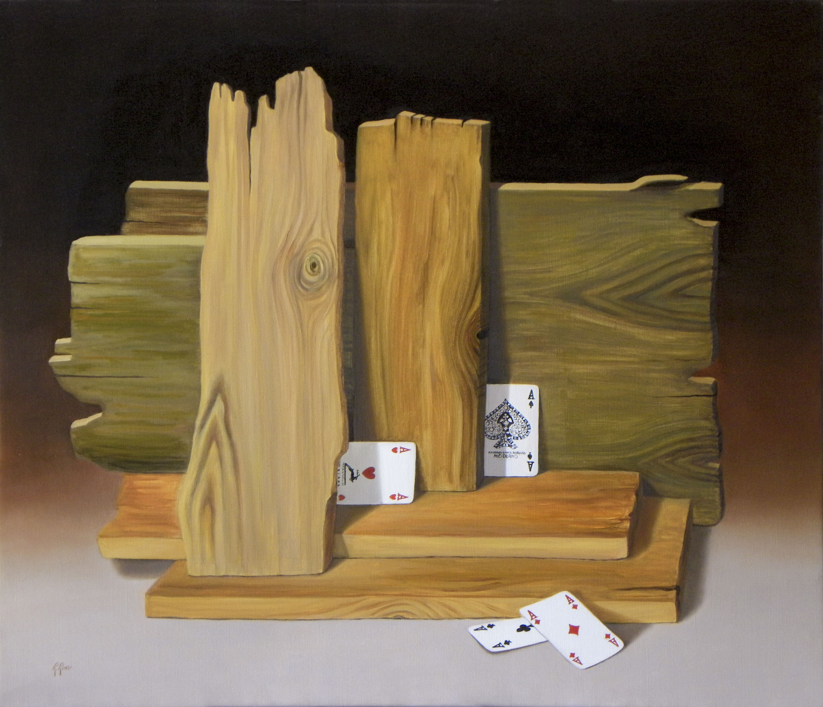 2012 roberta rossi - assi e assi - olio su tela - 60 x 70
