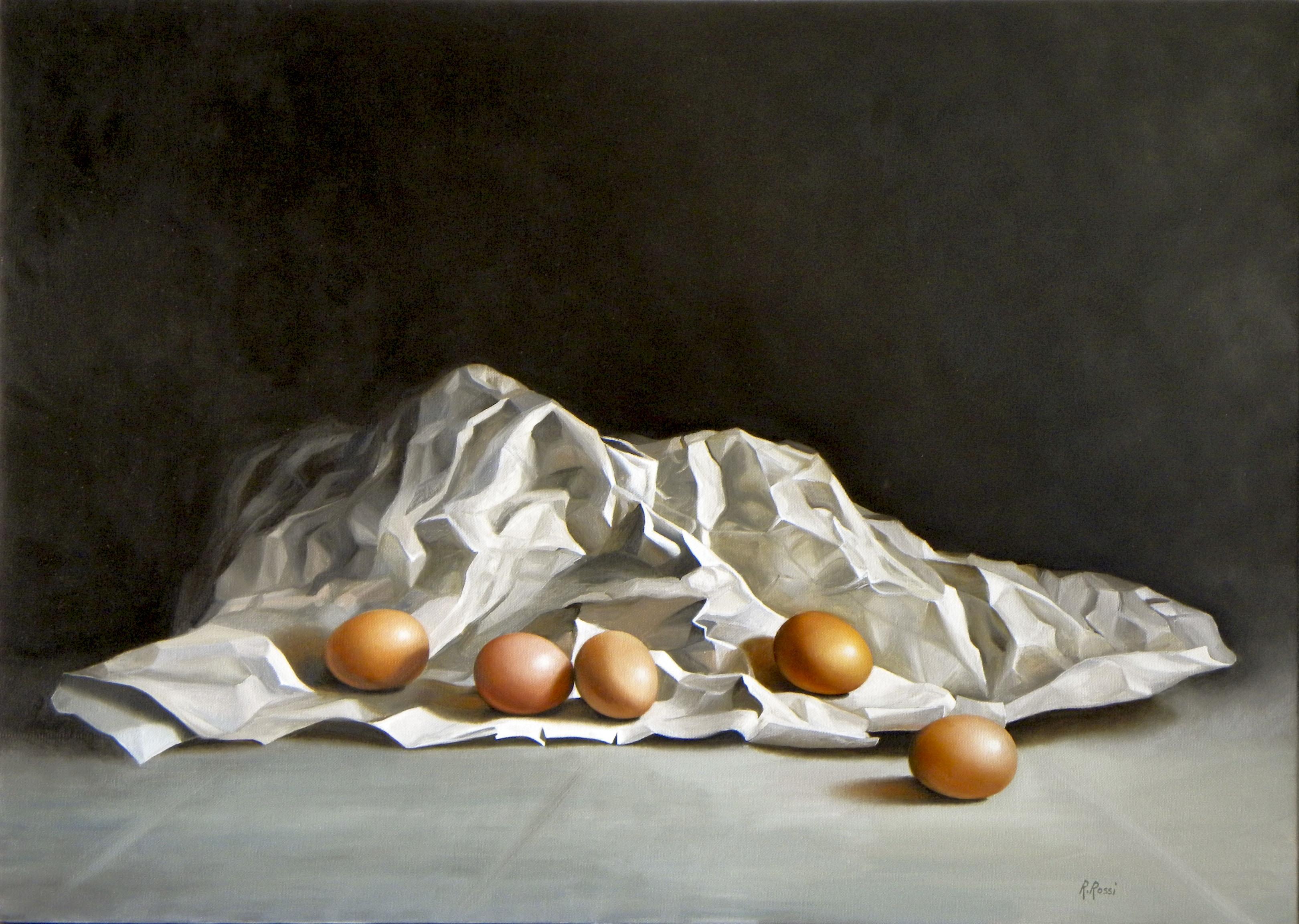 2012 roberta rossi - uova nel cartoccio - olio su tela - 50 x 70