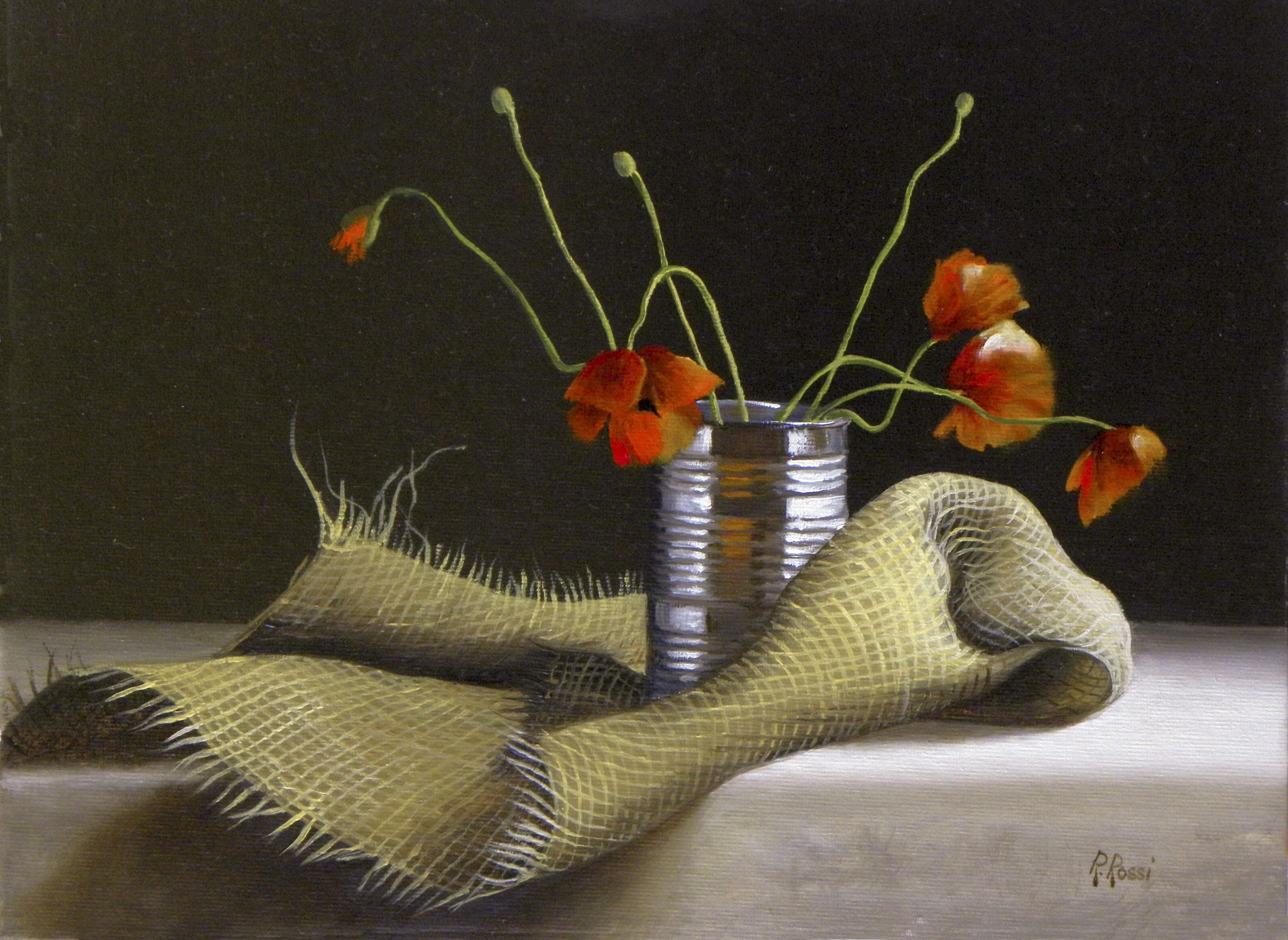 2013 roberta rossi - Gli ultimi papaveri - olio su tela applicata a cartone - 18 x 24