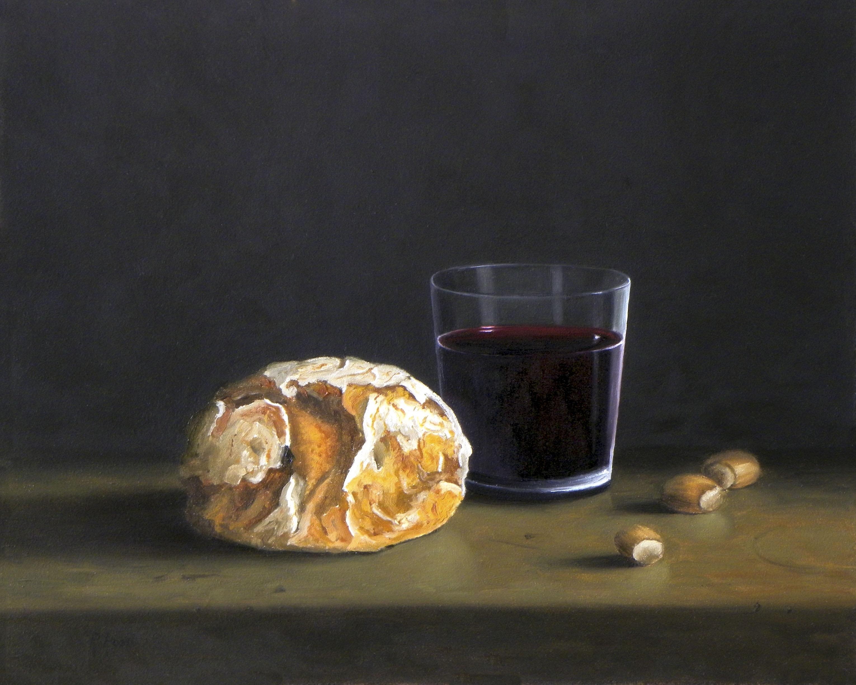 2013 roberta rossi - Pane e vino - olio su tela - 24 x 30