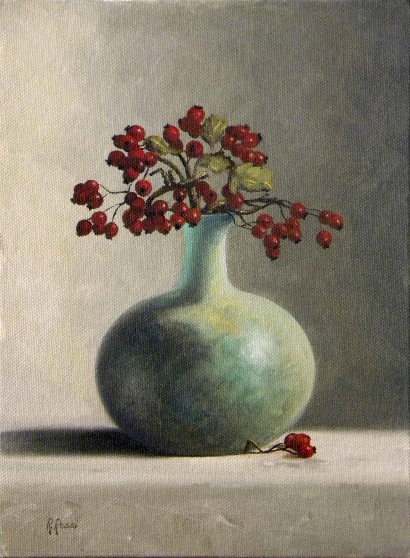 2013 roberta rossi - Vaso biancospino - olio su tela applicata a cartone - 24 x 18