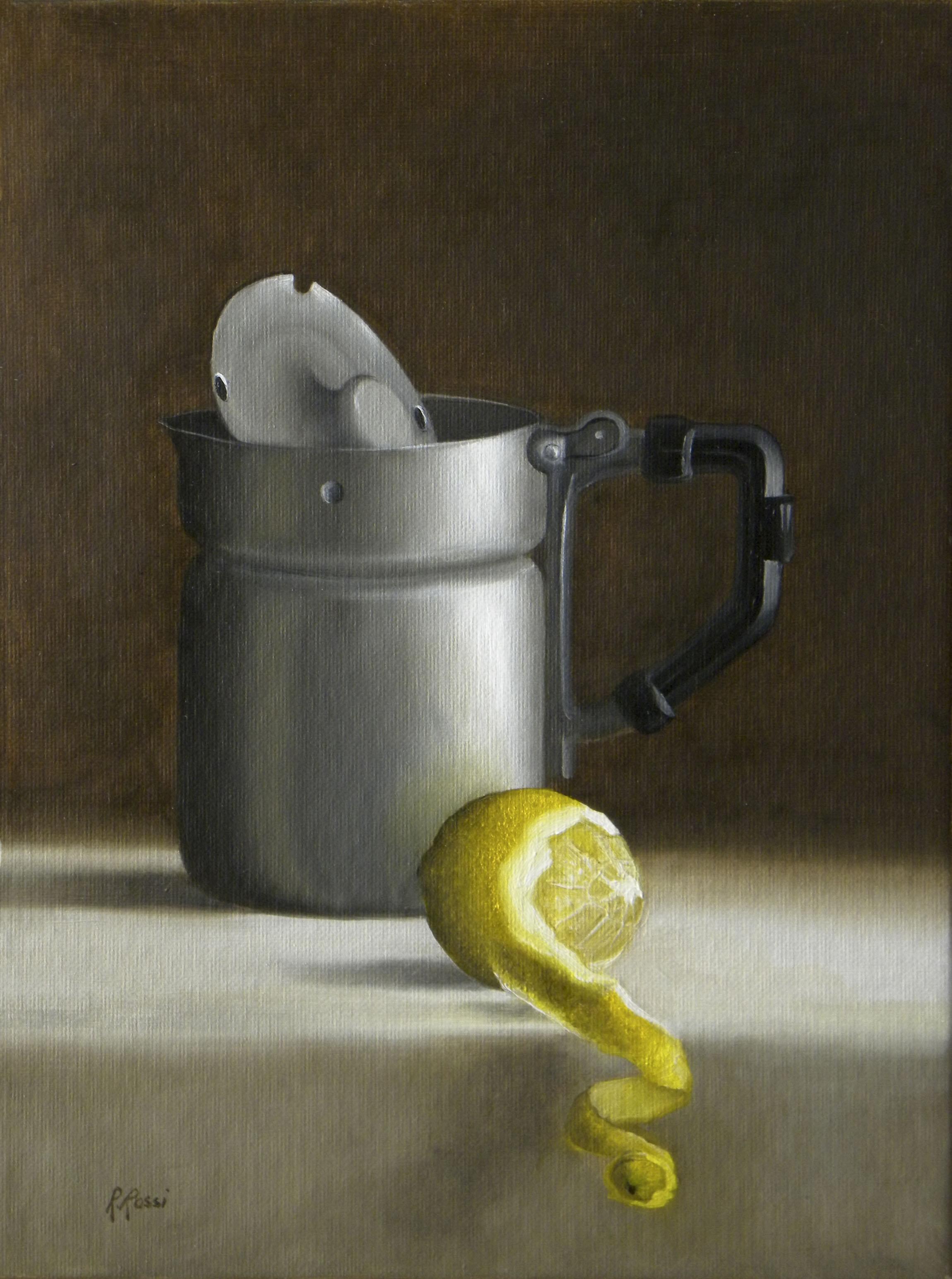 2013 roberta rossi – Vecchio bollitore e limone – olio su tela applicata a cartone – 24 x 18