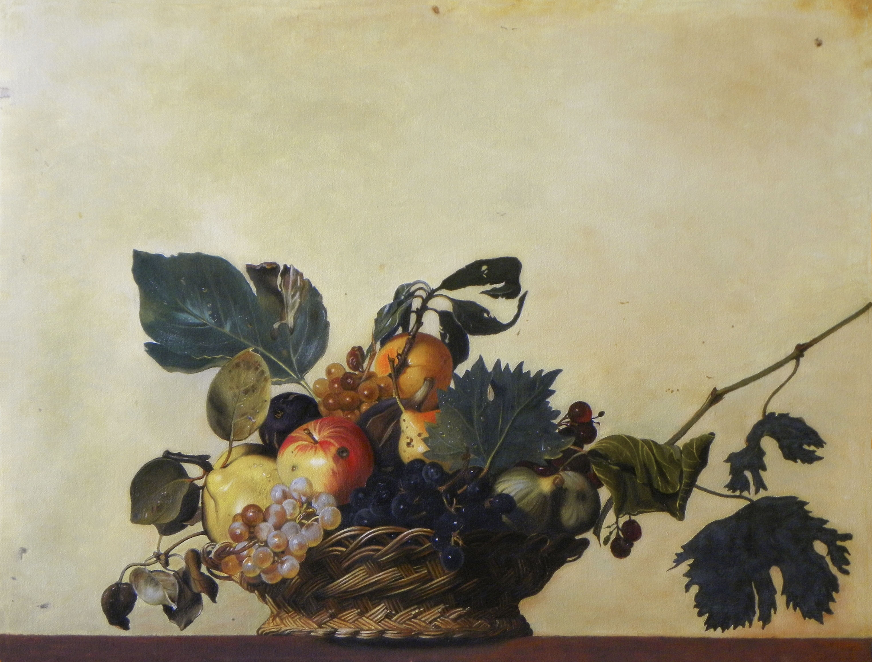 2014 roberta rossi - canestra di frutta - olio su tela di lino - 38 x 50
