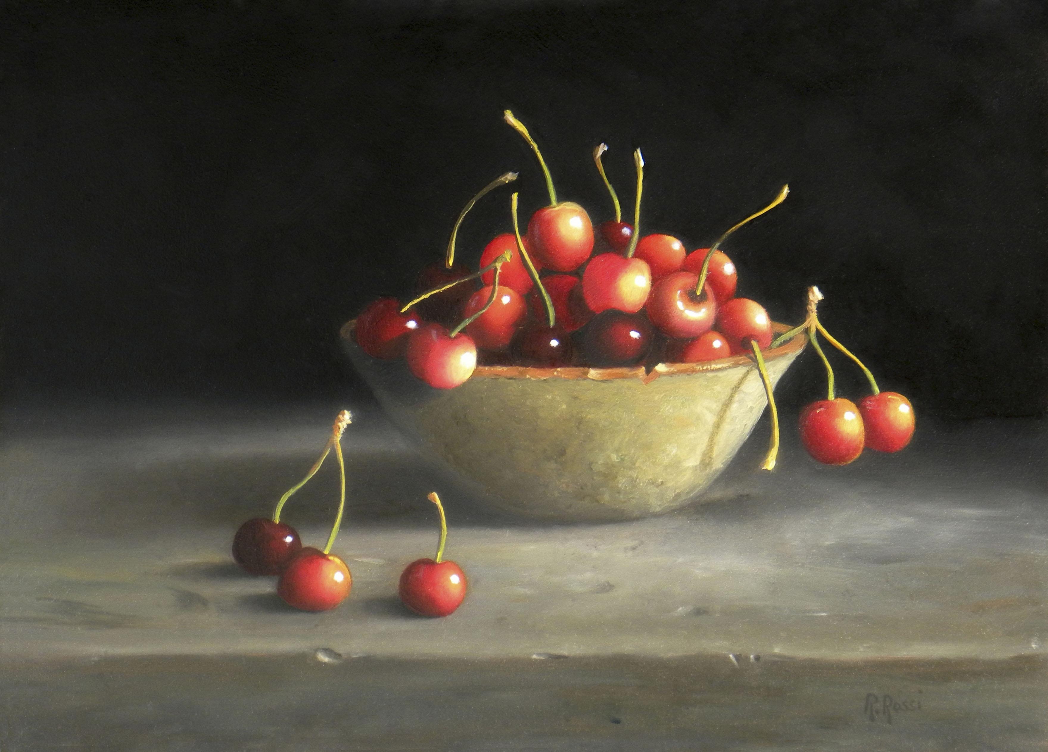 2015 roberta rossi - ciliege nella ciotola - olio su tavola - 18 x 24