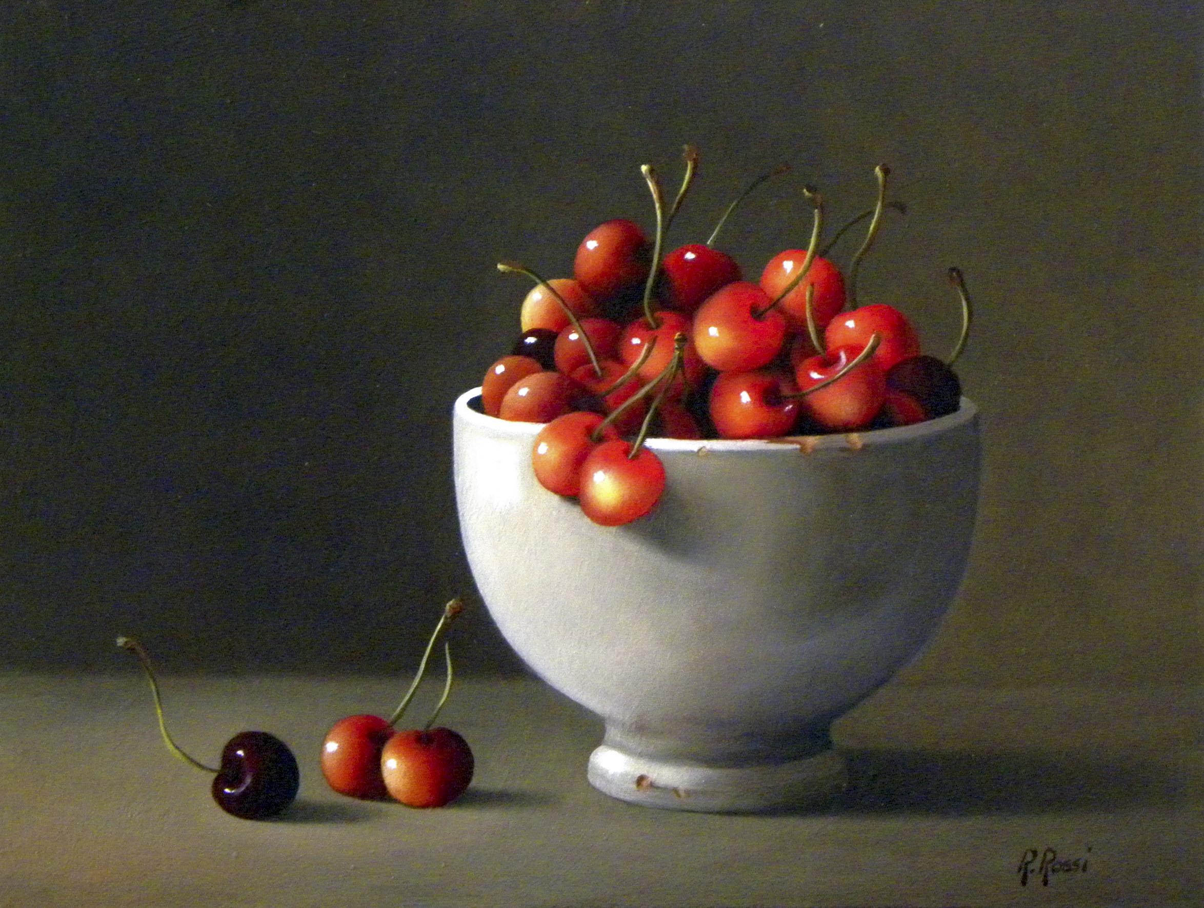 2015 roberta rossi - ciliege nella vecchia tazza - olio su tela applicata a cartone - 18 x 24