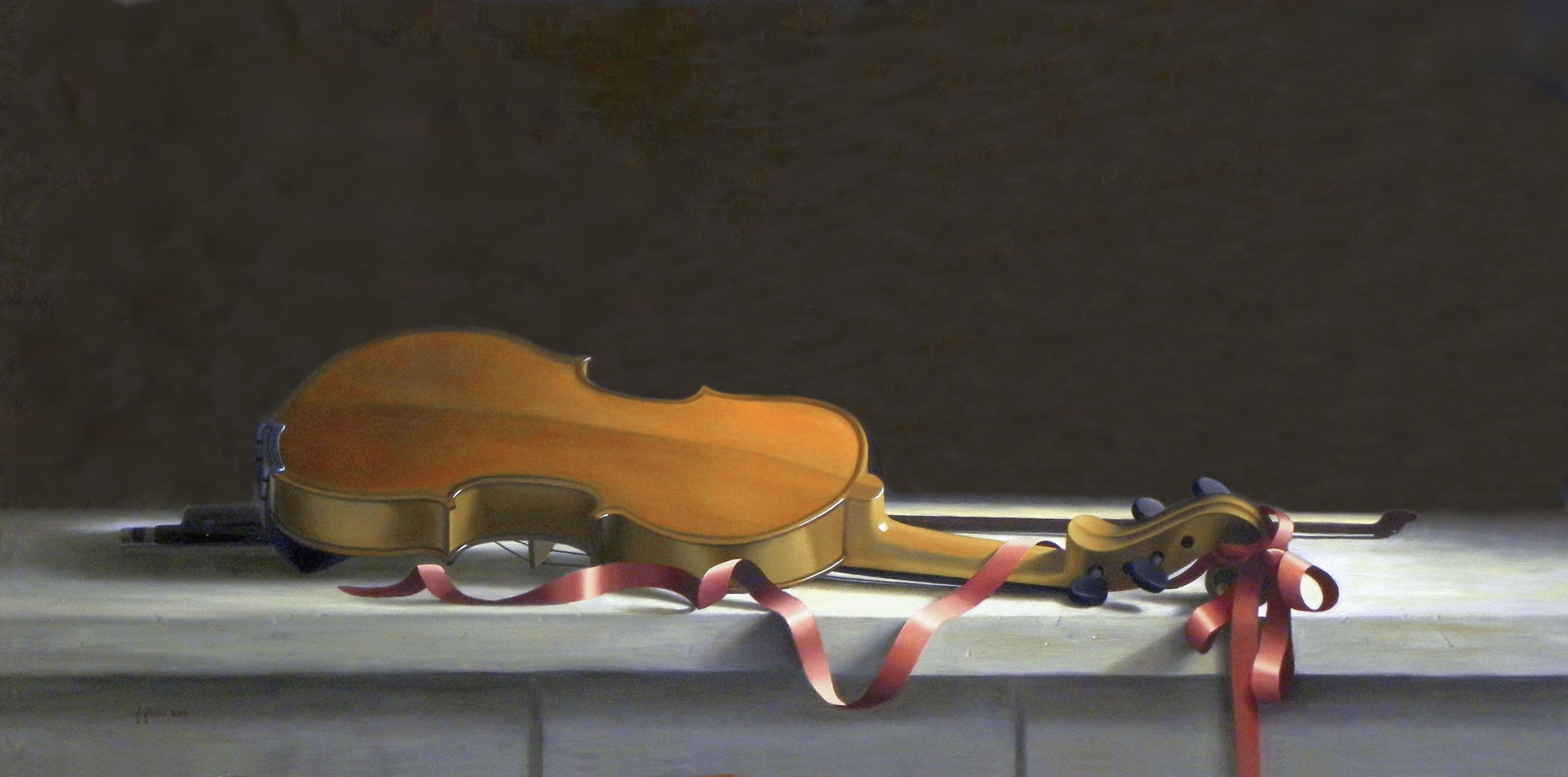 2015 roberta rossi - dopo il concerto - olio su tela - 40 x 80
