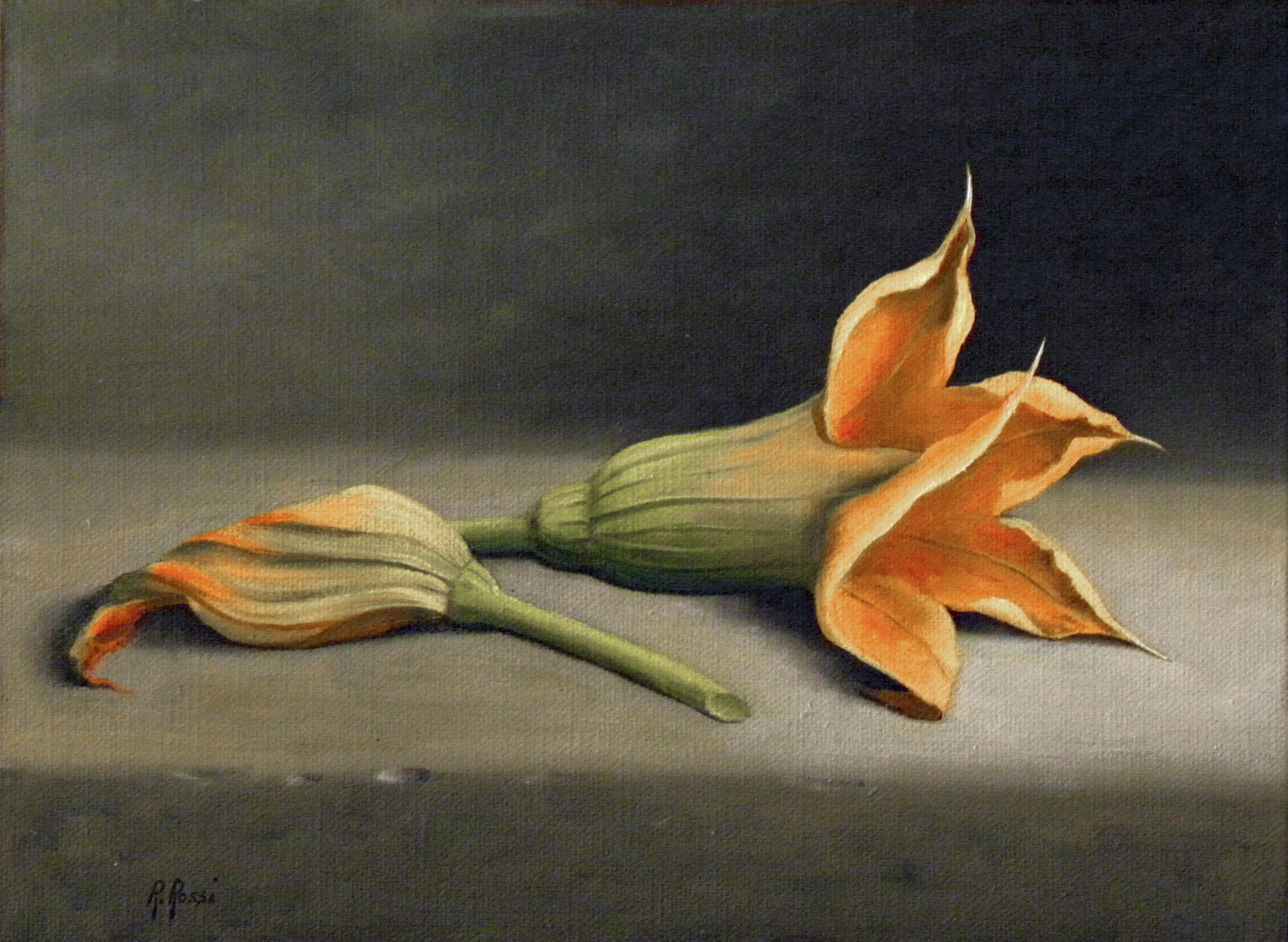 2015 roberta rossi - fiori di zucchina - olio su tela applicata a cartone - 18 x 24