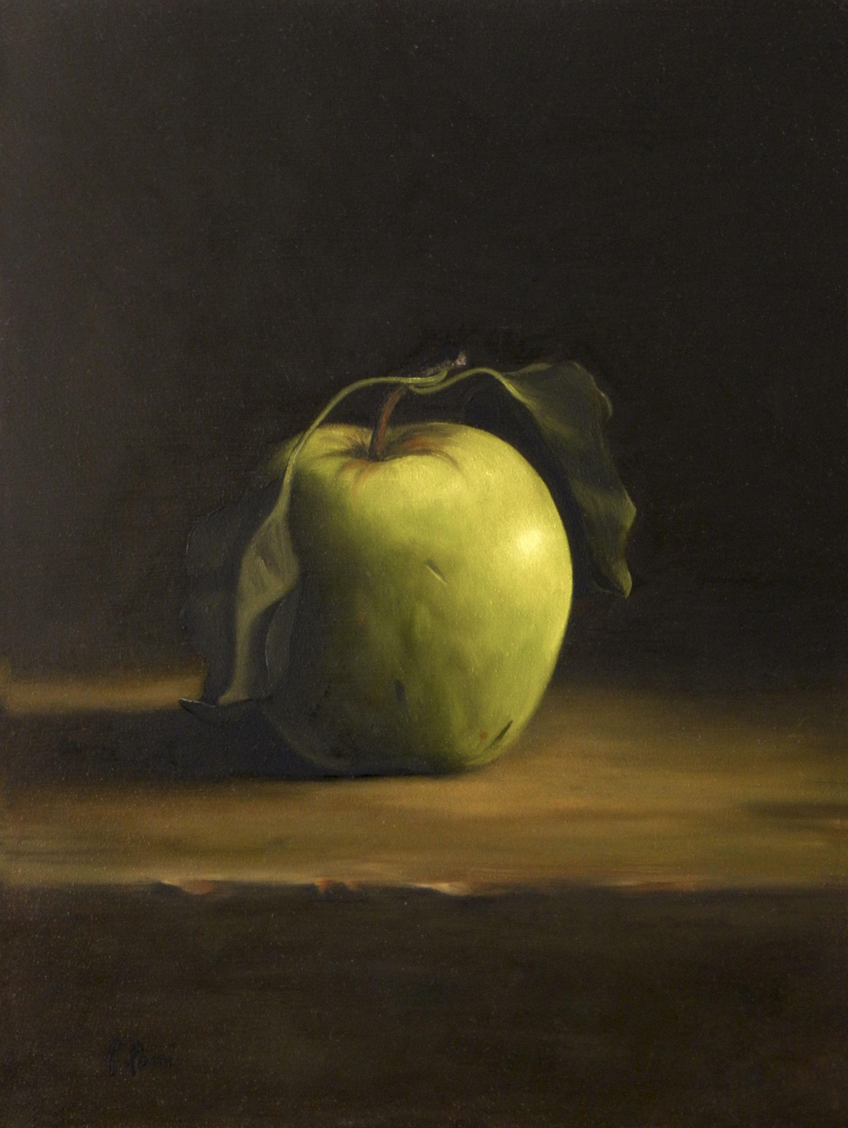 2015 roberta rossi – mela e foglie – olio su tavola – 24 x 18