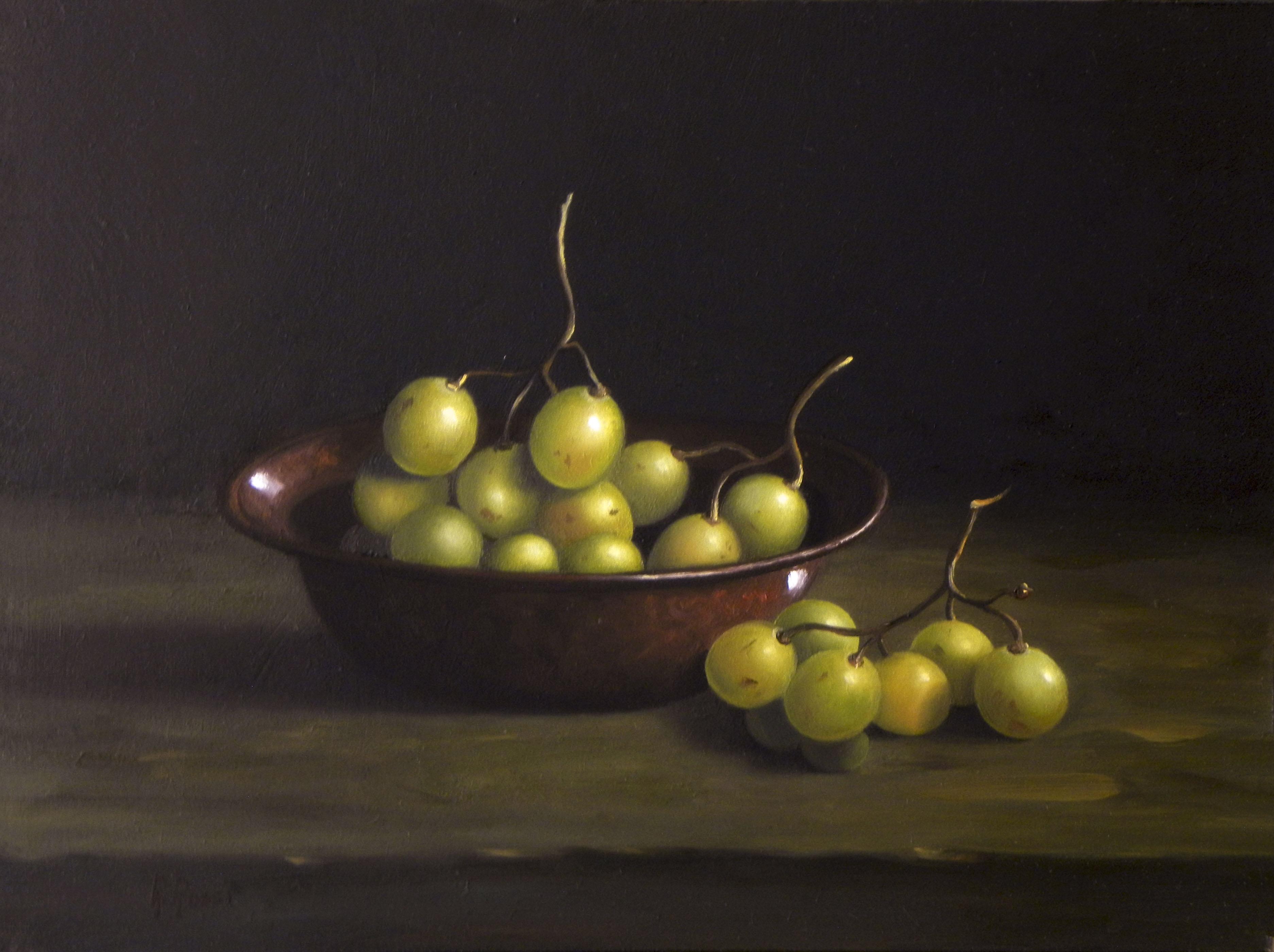 2015 roberta rossi - uva nella ciotola - olio su tavola - 18 x 24